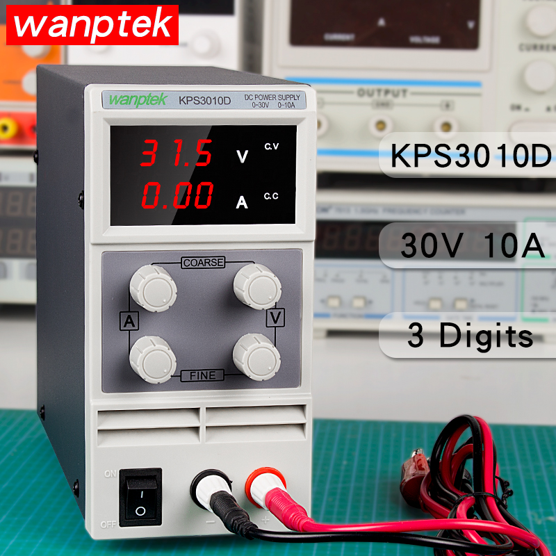 Adjustable 30V 10A Mini Switch DC Power Supply 3 digits LED Digital display KPS3010D Power Source High Quality Easier to UseAdjustable 30V 10A Mini Switch DC Power Supply 3 digits LED Digital display KPS3010D Power Source High Quality Easier to Use