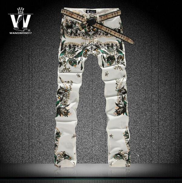 Spring autumn 2016 new flowers colored drawing flower thin jeans mens slim elastic denim pants male