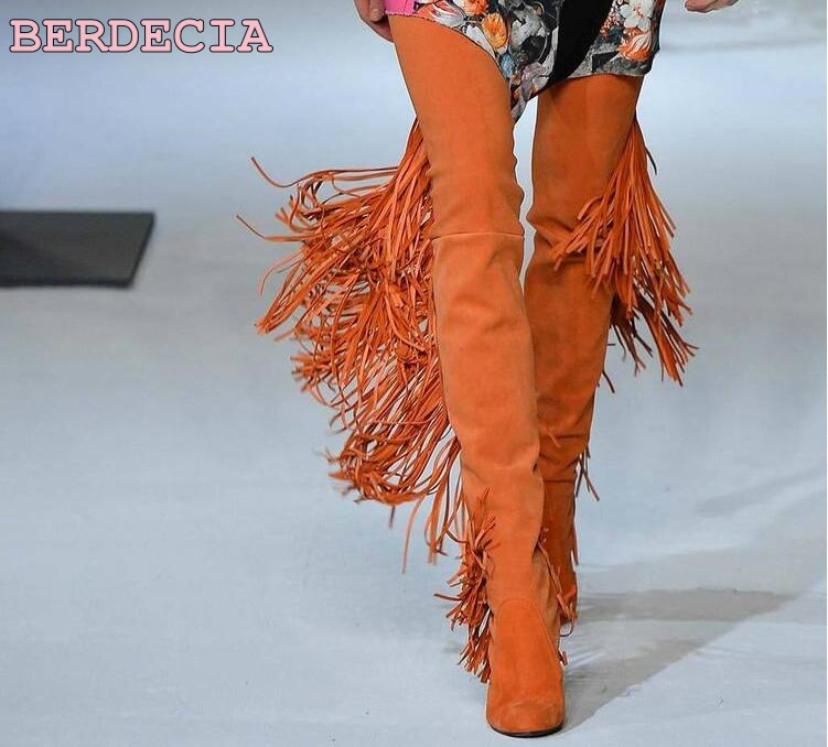 new style orange suede over the knee long boots long Tassel flat shoes women dressing concise fit shoes runway show boots photo roman hollow out the photo shoes fashionable nightclub cos props phantom of the opera queen show low shoes canister boots