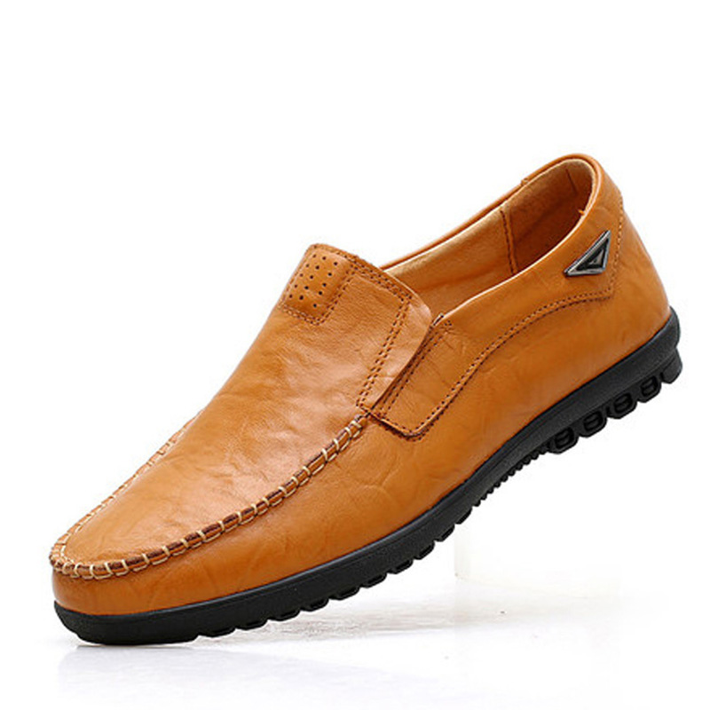 Véritable Confortable jaune Casual orange Printemps Qualité De Marque Mocassins Noir En Chaussures Cuir Mpx8107127 Haute Hommes 6xXIZqW