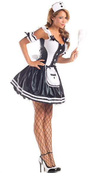 Charming Sexy Maid Costume Adult Fancy French Maid Halloween Costume Grey Servant  Maid Mini Dress