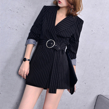 Blazer Suits Women Striped With Belt  Formal for Fashion Newest Long 2018 Office Jacket J18CA2063