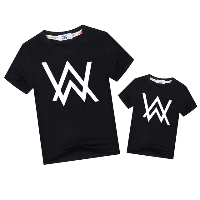 6ce1709a9 Fashion tees son father family matching clothes Alan Walker family look  Outfits short sleeve t-shirt mother dad kid boys tops
