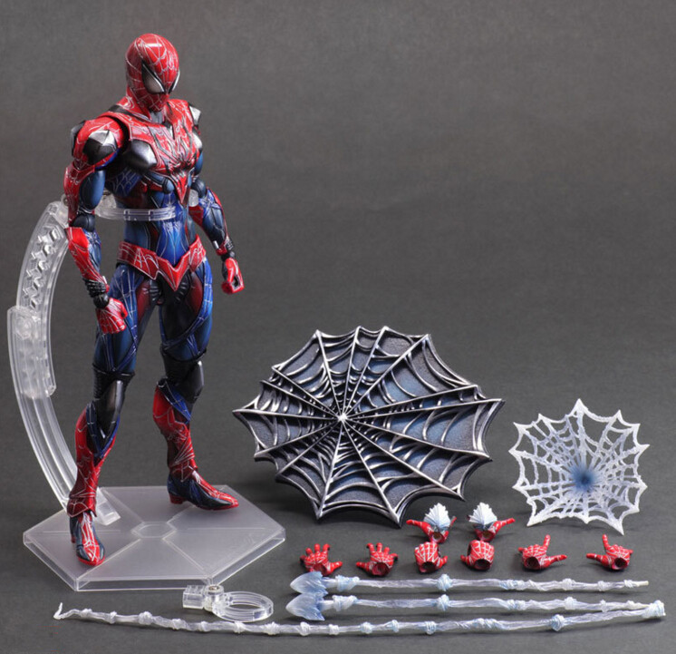 Spiderman Action Figure Play Arts Kai Spider Man 250MM Anime Model Toys Superhero Playarts Spider-Man tobyfancy spider man action figure play arts kai collection model anime toys amazing spiderman play arts spider man