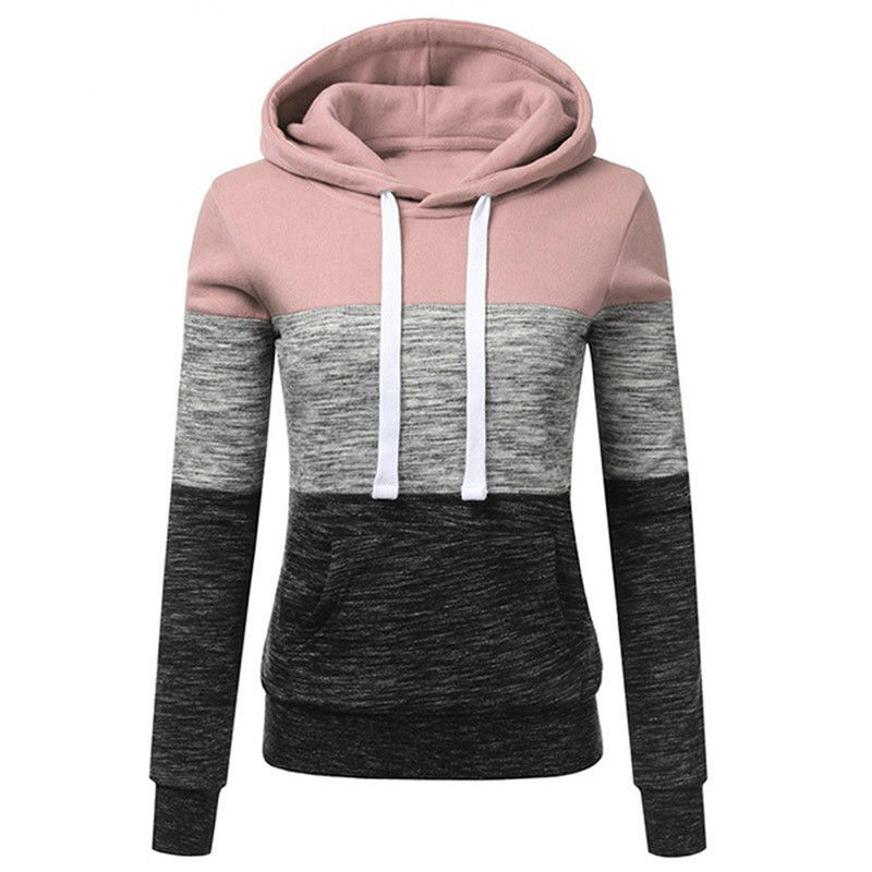 Manubeau Women Hoodies Sweatshirts Fashion Color Patchwork Hooded Sweatshirt Autumn Pullover Top Casual Female Hoodie Moletom
