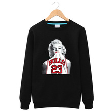 2016 New Winter Long Sleeves Marilyn Monroe Wearing Michael Jordan 23 Round Neck sweatershirt Fashion Leisure Fleece Tops