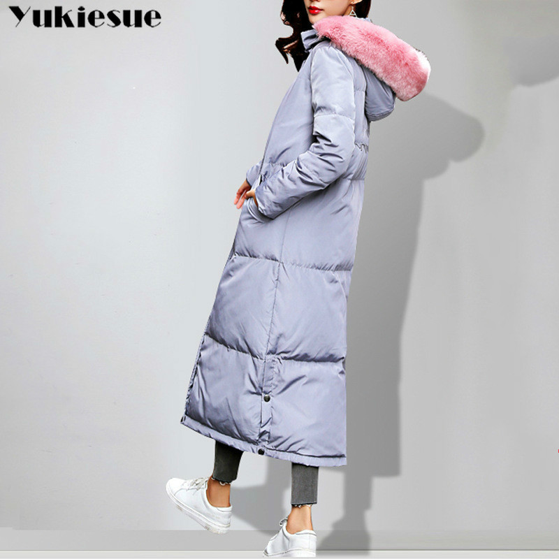 Women Winter Long Down Coat Fashion Female with Big Fur Collar Duck Parkas Jacket Thick Warm Elegant Down Coat  Wadded Jacket