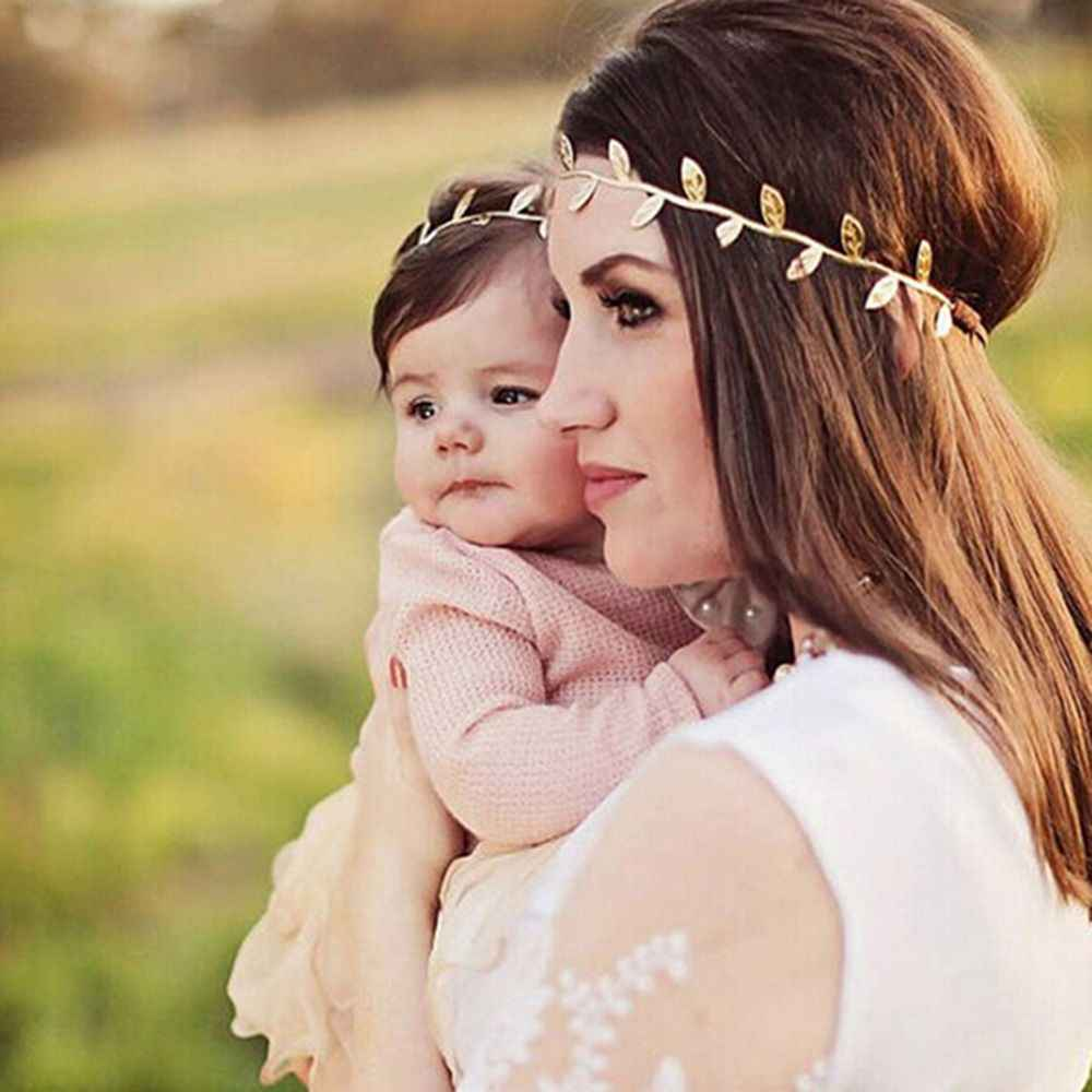 New Mom and Me Gold Silver Leaf Headband Set For Hair accessories Peace Olive Branch Cute Leaves Hairband