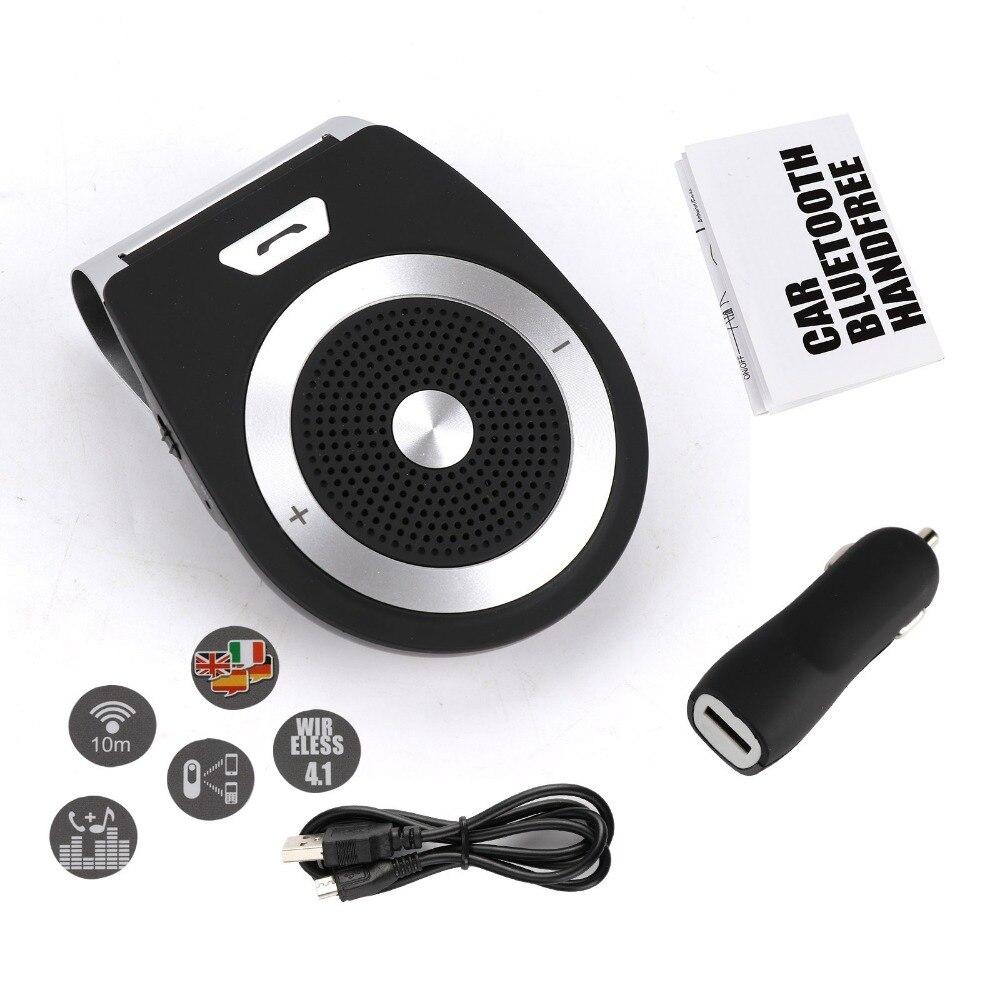 TAIHONGYU Universal Bluetooth Car Kit manos libres ruido cancelación Bluetooth receptor coche altavoz teléfono multipunto Clip Sun Visor