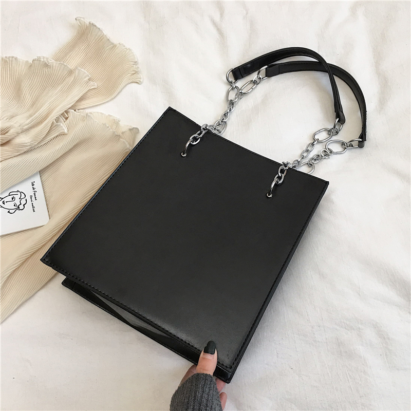 Burminsa Korean Style Rectangle Chain Shoulder Bags For Women Large Capacity High Quality PU Leather Handbags 2020 BOX PACKING