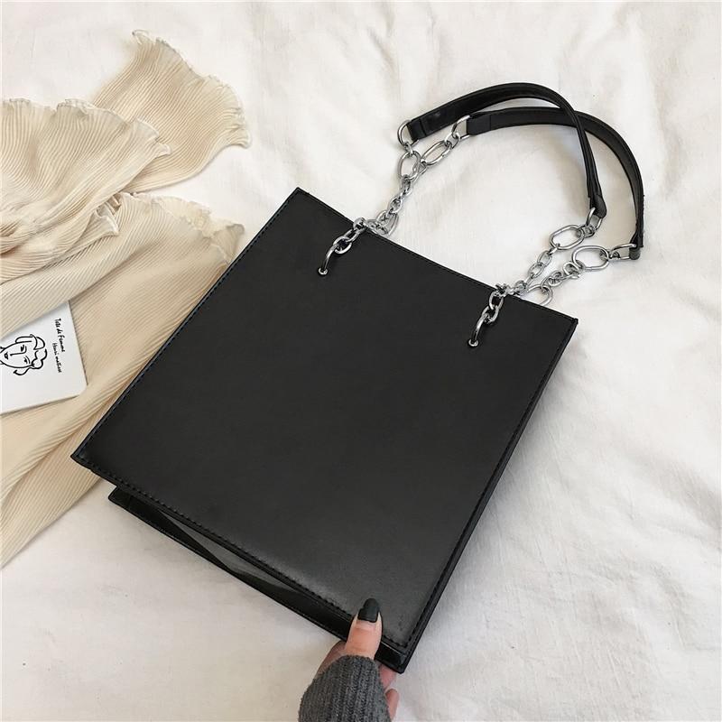 Bolsas de Ombro para as Mulheres de Grande Capacidade de Alta Caixa de Embalagem pu de Couro Burminsa Retângulo Vintage Cadeia Qualidade Bolsas Outono 2020