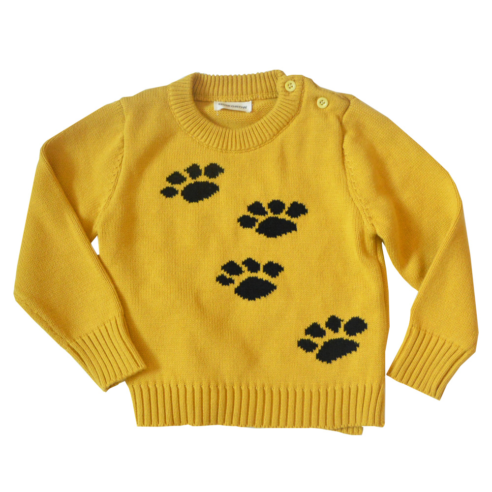 QUIKGROW Thick Warm Baby Boy Girl Sweater Stylish Yellow Long Sleeve Cute Puppy Dog's Paws Pullover Jumpers Knitwear YM07MY