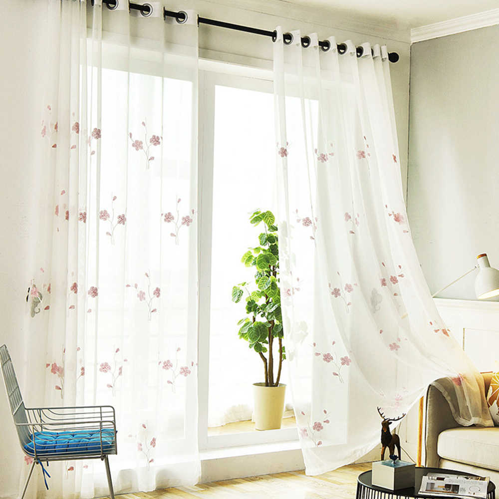 Outdoor Living Room Curtain Tulle Pink Flower Embroidered Semi Sheer Panels Window Linen Gauze Drapery for French Door TM0163