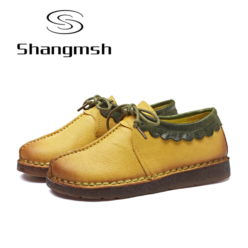 Shangmsh Handmade Genuine leather Shoes Women Solid Round Toe Soft Lady Shoes 2017 Autumn Casual Loafers Flats Female Shoes 2017 fashion women shoes genuine leather loafers women mixed colors casual shoes handmade soft comfortable shoes women flats