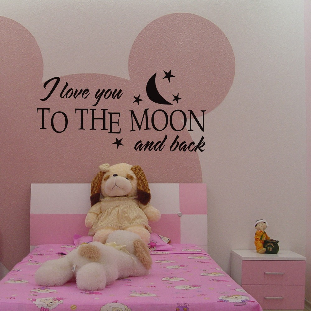 """Aliexpress Buy Love Quote I Love You to The Moon and Back Couple Room Valentine Baby Kids Nursery Vinyl Wall Decal Art Sticker 46"""" x 21"""" from Reliable"""