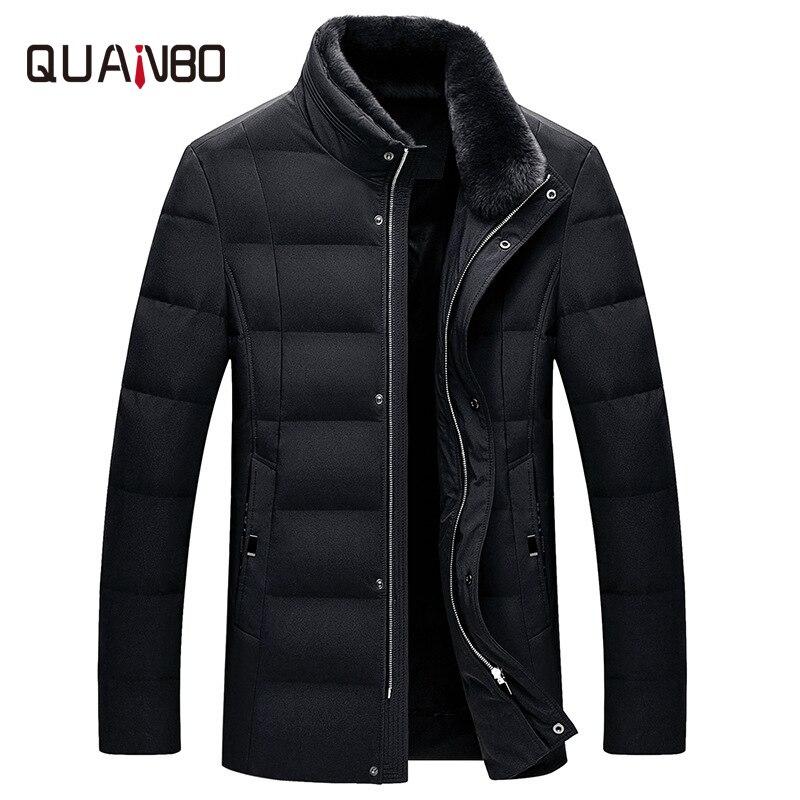 2019 men's stand collar 90 velvet down jacket Business casual fur collar windproof jacket Winter warm detachable fur collar coat