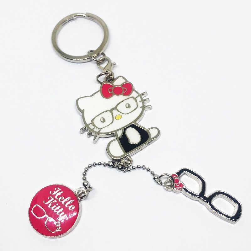 Olá kitty keychain anel chave corrente chave bonito do gato KITTY hellokitty BRANCO portachiavi chaveiro key holder bolsa charme frete grátis