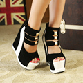 Ультра высокие каблуки 15 сексуальные клинья женской моды цвет блока украшения платформы сандалии бренда женщин толстой подошве красный открытым носком сапоги