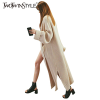 TWOTWINSTYLE 2017 Knitting Female Long Cardigan Split Straight Sweater For Women Lantern Sleeve Coat Gray Casual