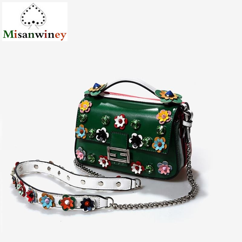 Luxury Designer Lady Tote Bags Famous Brand Women Cow Genuine Leather Handbags Fancy Flower Strap Chain Shoulder Bags Sac A Main forudesigns flamingo luxury handbags women bags famous brand designer owl style xmas bags casual tote feminina sac a main femme