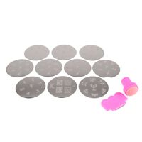 10Pcs Nail Plates Set Nail Art Image Stamp Stamper Stamping Transfer Scraper Plates Print Manicure Template