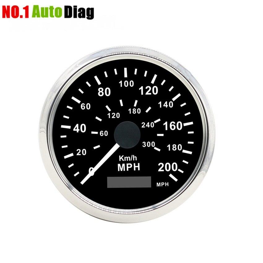ユニバーサル 85 ミリメートル車のトラックの Gps スピードメーター 200MPH 300KMH ステンレス鋼ベゼル防水デジタルゲージ  グループ上の 自動車 &バイク からの 速度計 の中 1