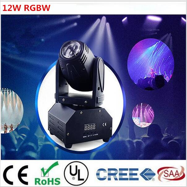 12W RGBW 4in1 moving head DMX512 light beam Lights LED spot Lighting DJ Show Disco Laser Light 2pcs/lot 10w mini led beam moving head light led spot beam dj disco lighting christmas party light rgbw dmx stage light effect chandelier