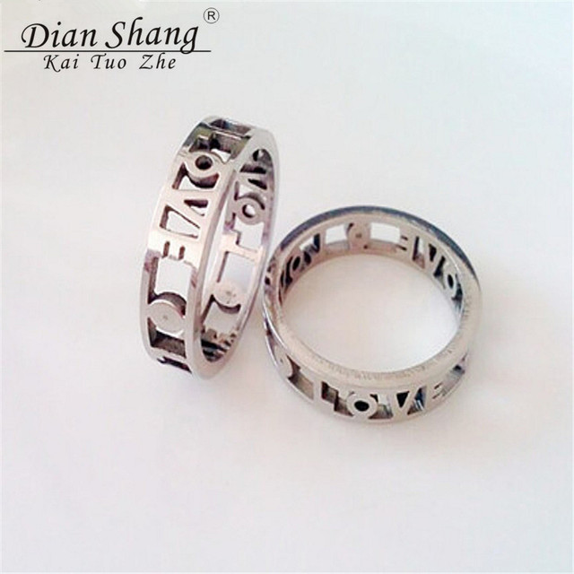 Dianshangkaituozhe Old School Love Wedding Ring Band Stainless Steel Rings For Women Vintage Jewelry Rose Gold