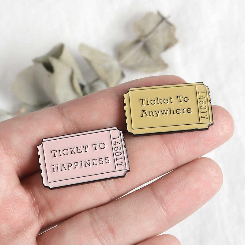 Tiket Pin Pink Kuning Tiket Enamel Bros Mendapatkan Kebahagiaan Kerah Pin Lencana Hadiah untuk Wanita Wanita Perhiasan Kemeja Denim Tas pin