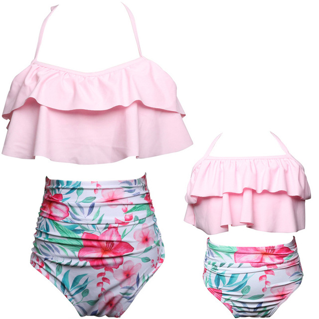 Two Pieces Family Match Swimwear Mother and Daughter Mum and Kid Bikini Bathing Swimsuit Beachwear Mom and Girls Swim Clothes