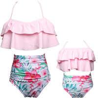Zwei Stücke Familie Spiel Bademode Mutter und Tochter Mama und Kind Bikini Bade Badeanzug Beachwear Mama und Mädchen Schwimmen Kleidung