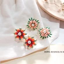 Simple Bright Pearl Flower Earrings Enamel Stud Earrings Women Trendy Flower Jewelry For Women pair of trendy faux pearl plush stud earrings for women