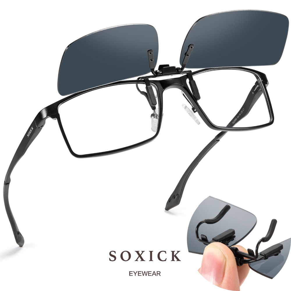 Soxick Polarized Metal Clip On Flip Up Sunglasses for Men Women Ultra Lightweight Outdoor Sports Sun Glasses Eyewear