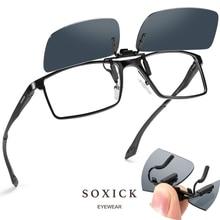 Soxick Polarized Metal Clip On Flip Up Sunglasses for Men Women Ultra Lightweight Outdoor Sports Sun Glasses Eyewear