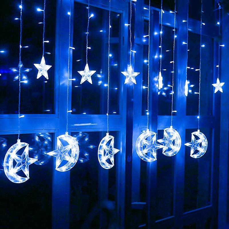 2.5M 220V ES Plug Ziemassvētku LED zvaigzne un Mēness aizkari - Brīvdienu apgaismojums - Foto 4
