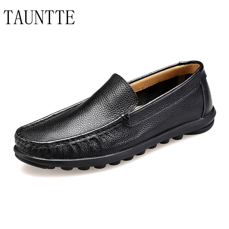 Tauntte Summer Plus Size Genuine Leather Loafers Men Casual Breathable Slip On Shoes Fashion Cow Leather Shoes For Free Shipping big size 46 summer breathable mesh loafers men casual shoes genuine leather slip on brand fashion flat shoes soft comfort cool
