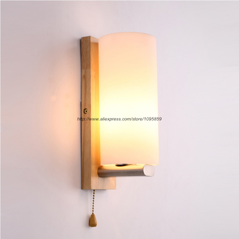 Milk Glass Wall Lamps : ?? ??Free Shipping Modern Wood Wall ?? Lamps Lamps Bedroom Cylinder Milk White Glass Wall ...