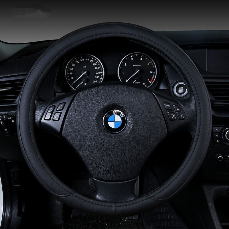 Leather streamlined car steering wheel cover, durable and comfortable for all general purpose models