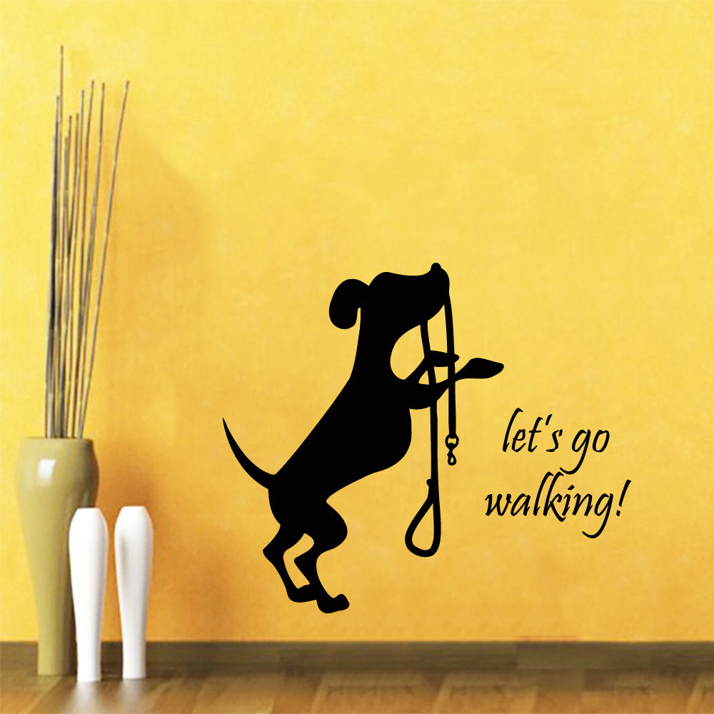 2016 funny Dog Wall Decal Quote Let\'s Go Walking Pet Shop Vinyl ...