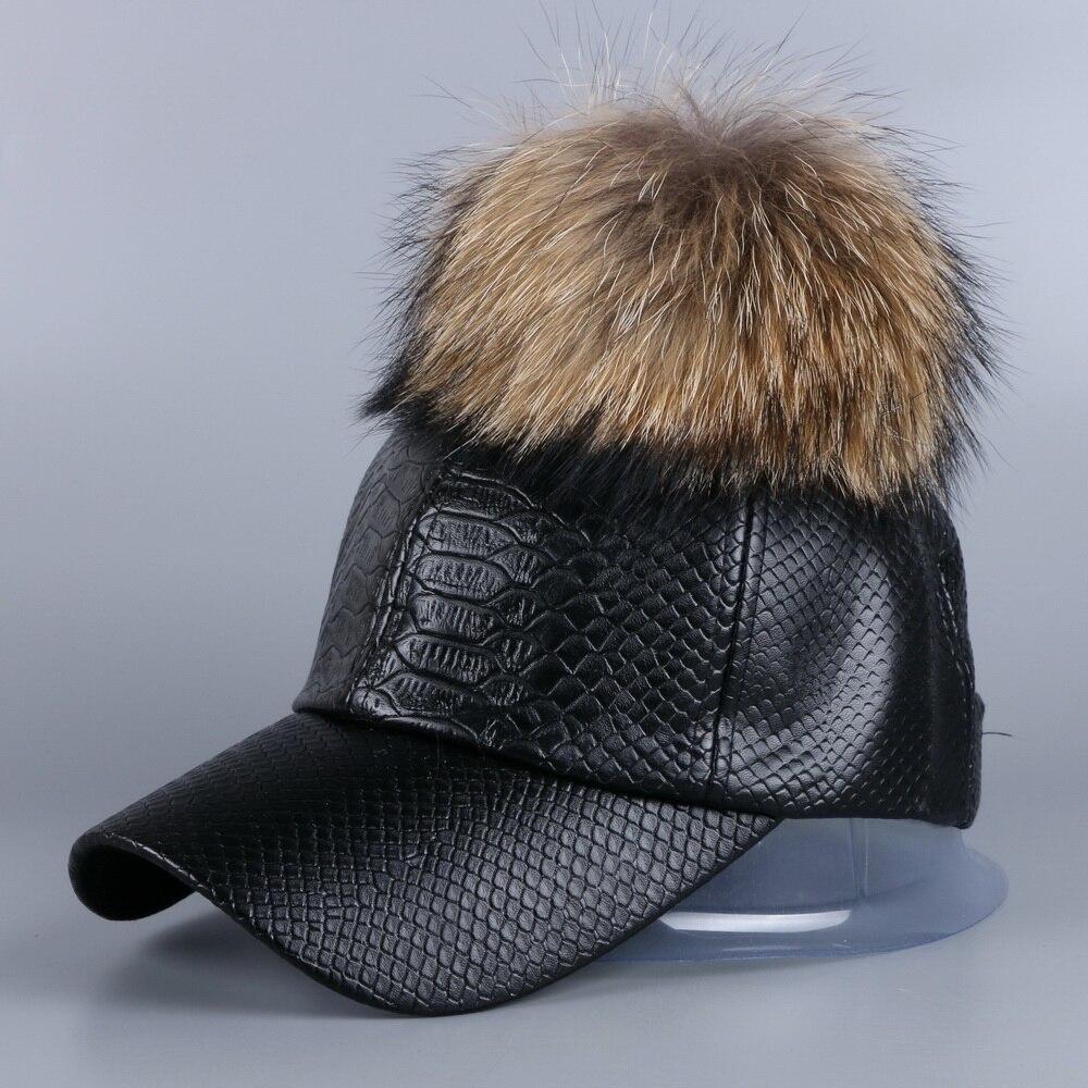 2016 new fashion women girl popular autumn winter luxury PU leather   baseball     cap   snapback hat with large genuine raccoon pompoms