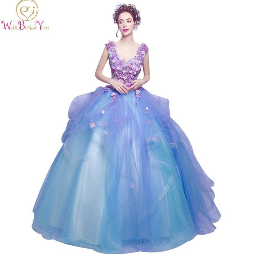 2019 vestido de festa   prom     dresses   long flowers purple blue evening gowns belt lace beaded party formal gowns for graduation