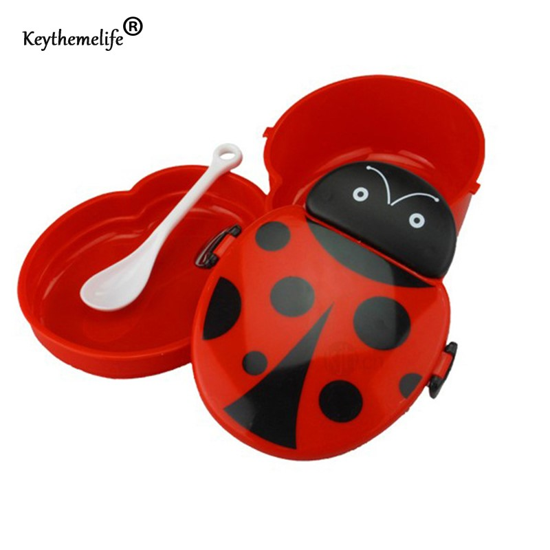 Keythemelife Cartoon Ladybug Food Container Lunch boxs Kids fruit Snack Bento Microwave Lunchbox D0(China (Mainland))