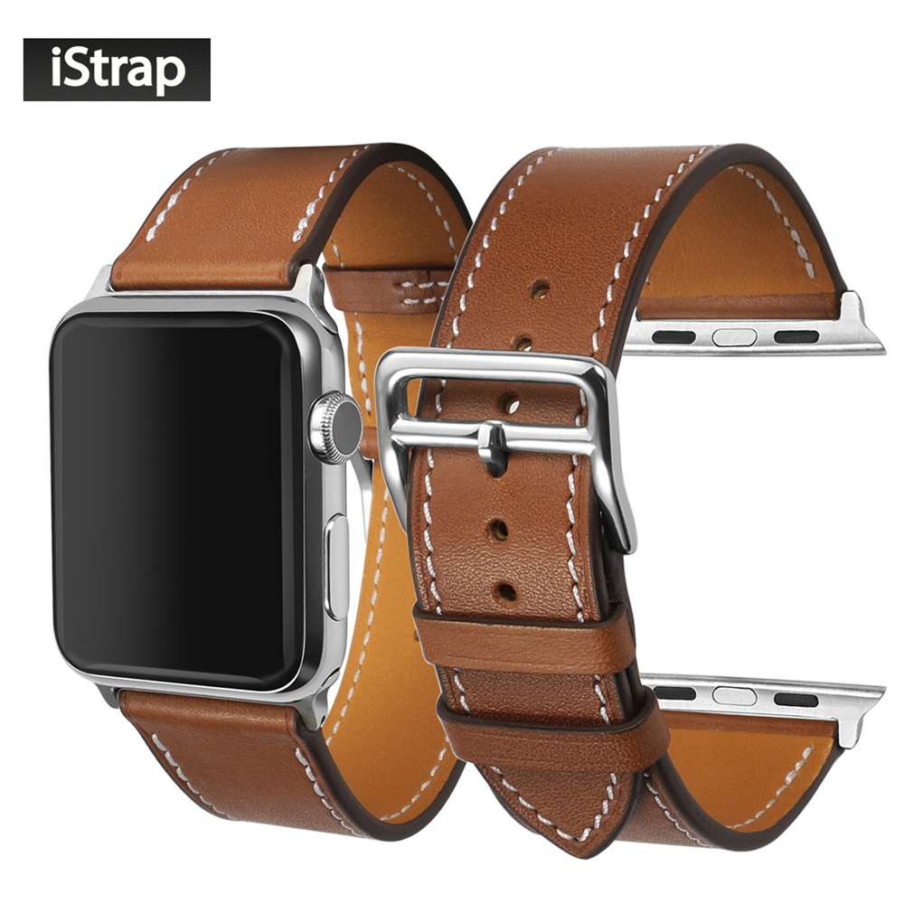 цена на iStrap 38mm 42mm Brown Genuine Leather Watch Band With Silver buckle Spring bar adapter Strap For Apple watch strap 38mm 42mm