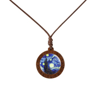 Van Gogh Necklace Art Painting Wood Glass Pendant Necklaces  Mens Necklaces Women's Necklaces