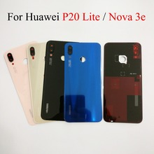 Черный/розовый/золотой/синий для huawei P20 lite/Nova 3E сменная стеклянная задняя крышка батарейного отсека чехол Корпус батареи задняя крышка