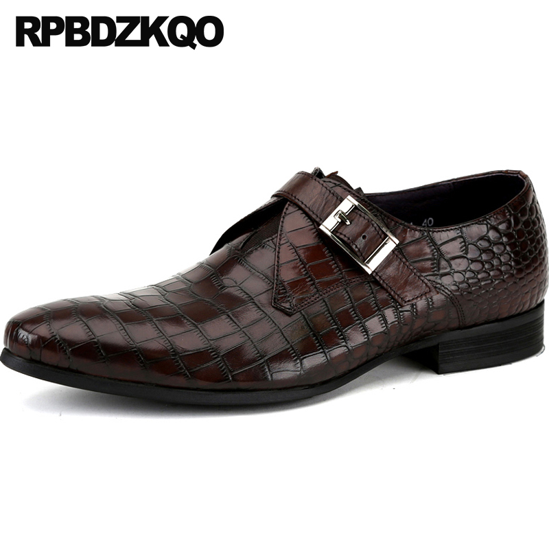 Men's Shoes Shoes Buy Cheap Sipriks Men Slip On Dress Shoes With Single Monk Strap Red Brown Social Shoes Black Python Shoes For Men Business Office Flats