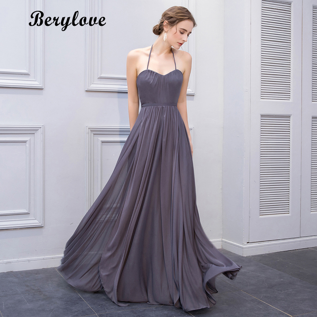 BeryLove Hot Selling Halter Grey Prom Dresses Long Evening Dresses 2018  Women Chiffon Prom Party Dresses Formal Evening Gowns 007e57562925