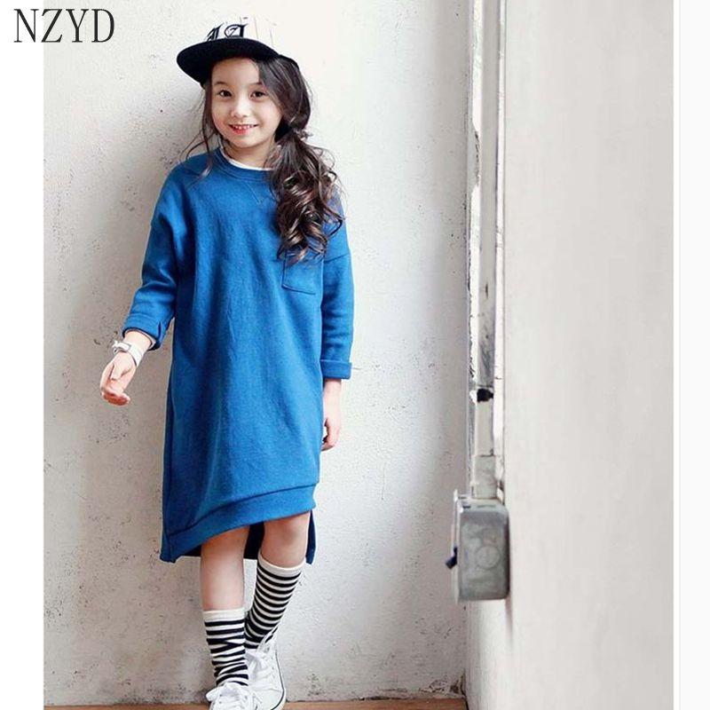 ФОТО 2017 New Fashion Spring Autumn Girls Dress Printing Children Loose Dress Long Sleeve Europe Style Leisure Kids Clothes DC066