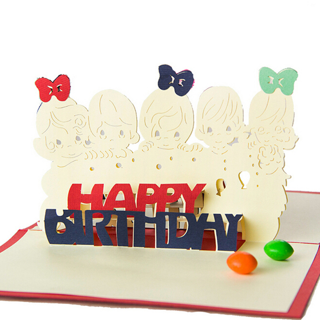 10 Pieces LotCreative 3D Handmade Lovely Baby Birthday Cards Special Kids Greeting Free Shipping