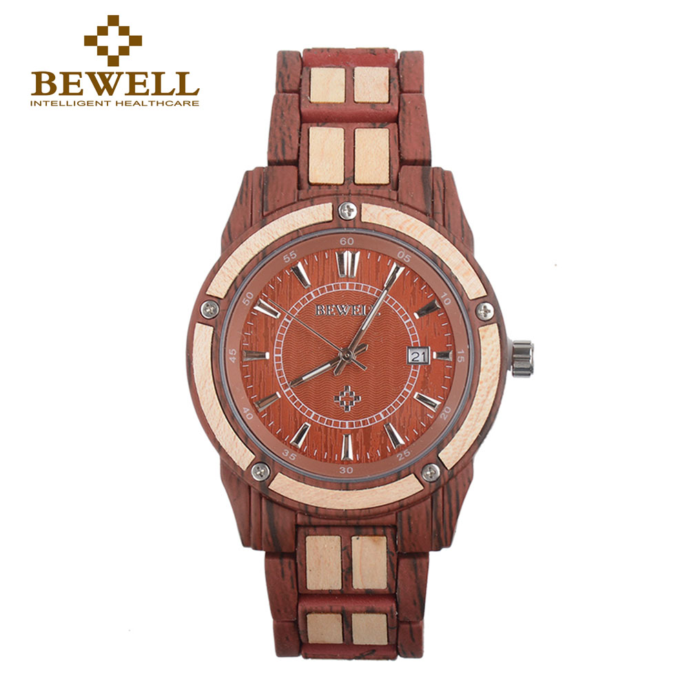 BEWELL Men Watch Gift Luxury-Accessories Unique with Metal Time-Display Digital Business
